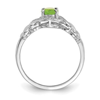 10k White Gold Peridot and Diamond Ring
