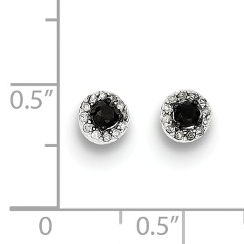 Sterling Silver Rhod Plated Black and White Diamond Circle Post Earrings