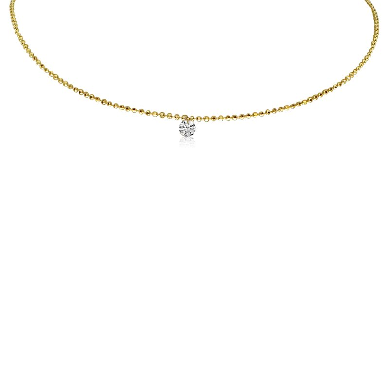 "Color Merchants 14K Yellow Gold .15 Single Dangle Diamond Necklace with 18"" Chain"