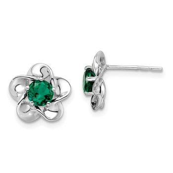 Sterling Silver Rhodium-plated Floral Created Emerald Post Earrings