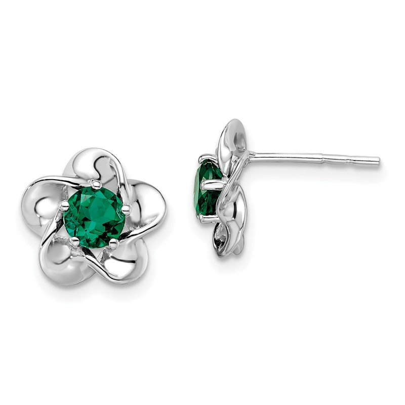 Quality Gold Sterling Silver Rhodium-plated Floral Created Emerald Post Earrings