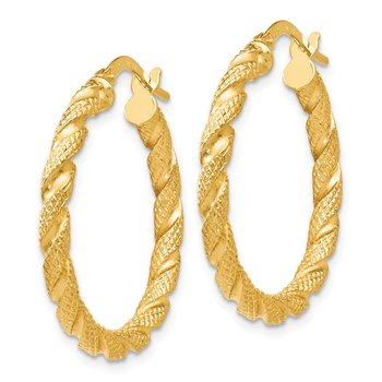 Leslie's 14k Polished and Textured Twisted Hoop Earrings