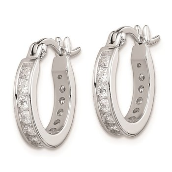 Sterling Silver Rhodium-plated CZ Hoop Earrings