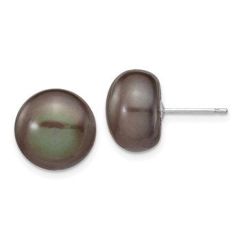 14k White Gold 11-12mm Black Button FW Cultured Pearl Stud Post Earrings