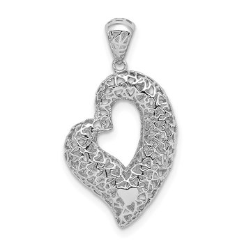 Sterling Silver Rhodium-plated Hollow Heart Pendant