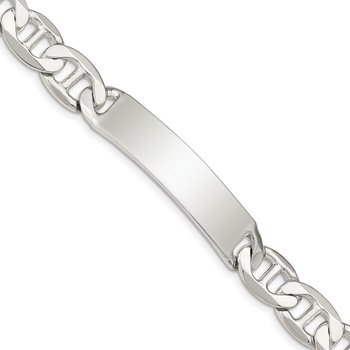 Sterling Silver Polished Engraveable Anchor Link ID Bracelet