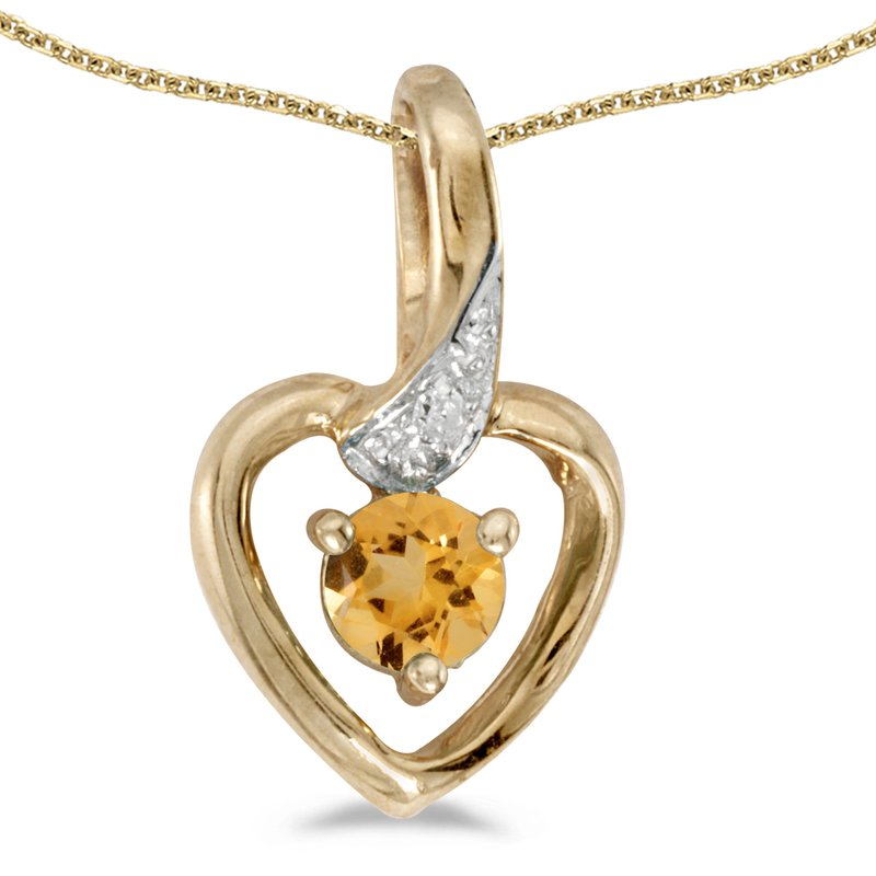 Color Merchants 14k Yellow Gold Round Citrine And Diamond Heart Pendant