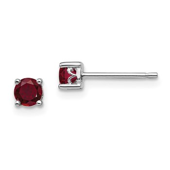 Sterling Silver Rhodium-plated 4mm Round Created Ruby Post Earrings