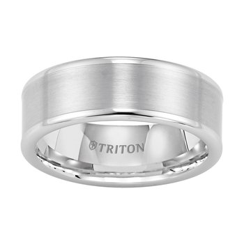 Tungsten Carbide Satin Finish Flat Center Mens Wedding Band