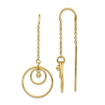 Stainless Steel Polished Yellow IP-plated Threader Circle Dangle Earrings