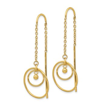 Stainless Steel Polished Yellow IP-plated Circle Threader Dangle Earrings