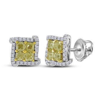 18kt White Gold Womens Round Yellow Color Enhanced Diamond Square Cluster Earrings 1-1/2 Cttw