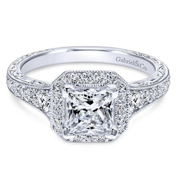 14k White Gold Diamond Princess Cut Halo Engagement Ring with Channel Setting