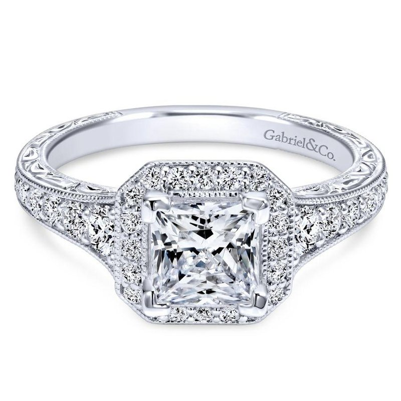 halo vintage setting engagement ring