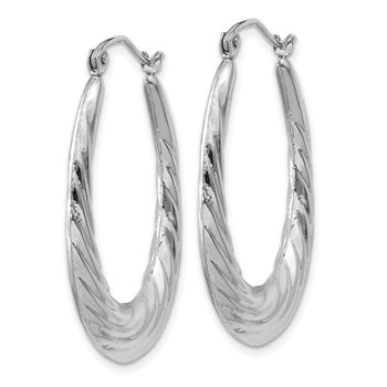 14k White Gold Polished and Textured Oval Hoop Earrings