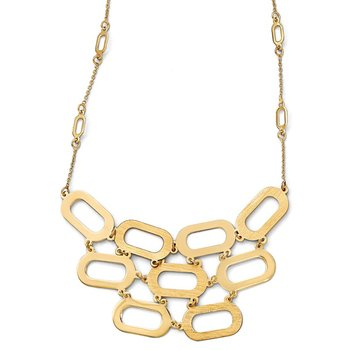 Leslie's 14k Polished and Brushed Necklace w/2in ext