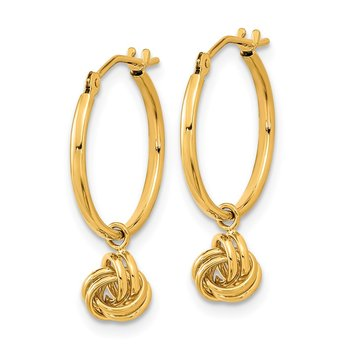 14k Polished Love Knot Dangle Hoops