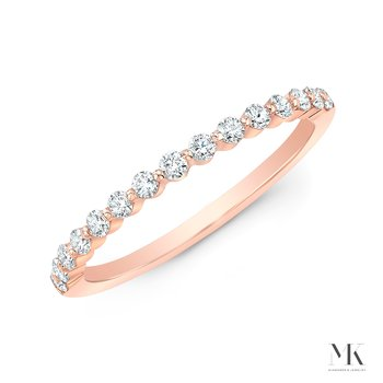 Rose Gold Shared Single Prong Wedding Band