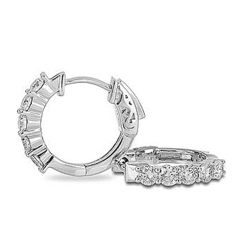 14K WG Diamond Hoops 10 Stone Prong Set