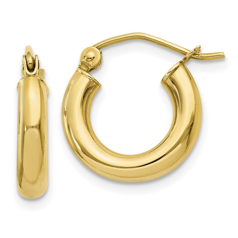 Quality Gold 10K Polished 3mm Tube Hoop Earrings