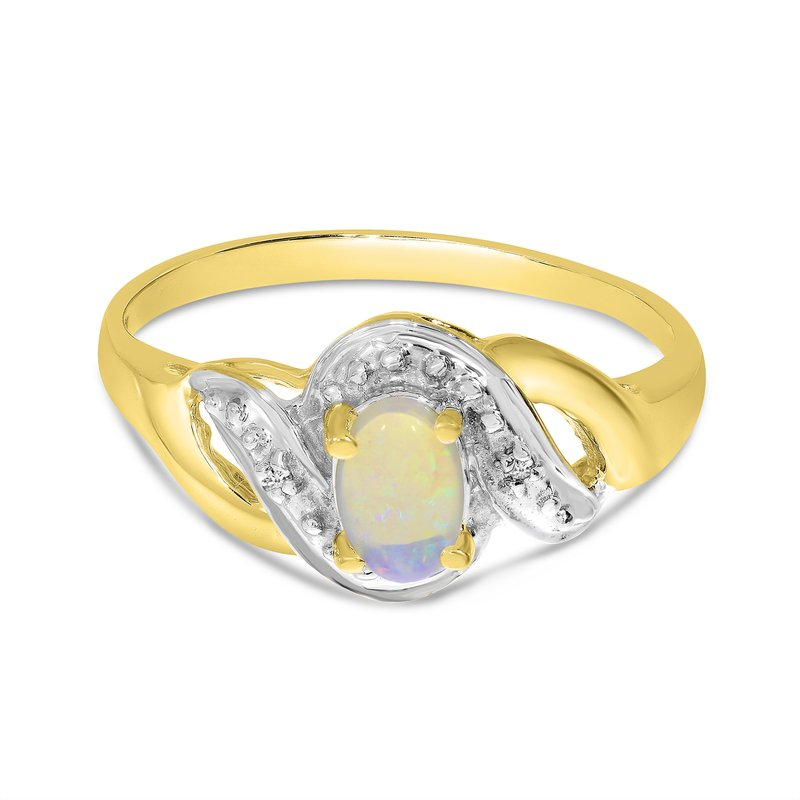 Color Merchants 14k Yellow Gold Oval Opal And Diamond Swirl Ring