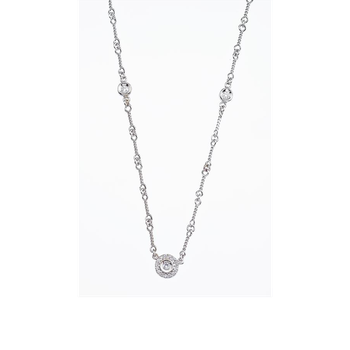 18Kt Gold 5 Station Double Sided Diamond Necklace On A Dog Bone Chain