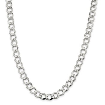 Sterling Silver 9.8mm Polished Flat Curb Chain