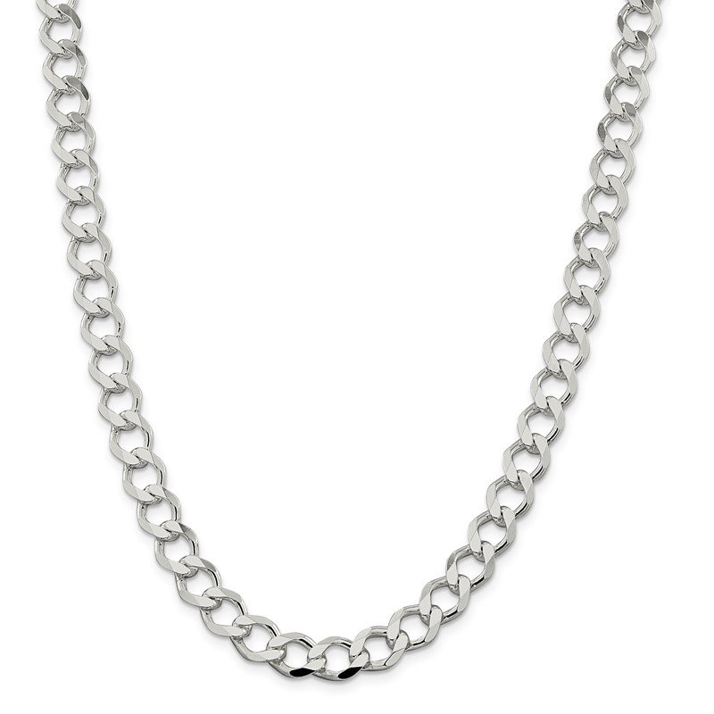 Quality Gold Sterling Silver 9.8mm Polished Flat Curb Chain