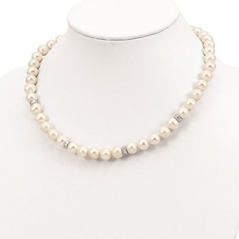 Sterling Silver Rhod-plat 9-10mm White off round FWC Pearl CZ Necklace