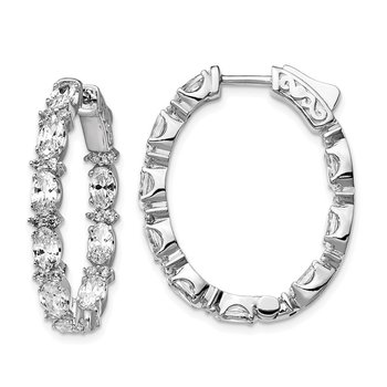Sterling Silver Rhodium-plated Fancy CZ In & Out Oval Hoop Earrings