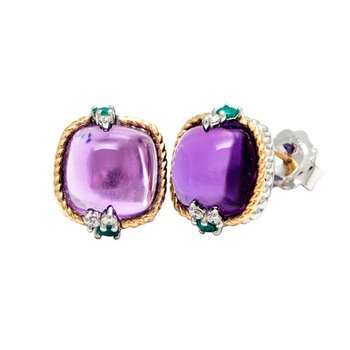 18kt and Sterling Silver Amethyst, Emerald & Diamond Earrings