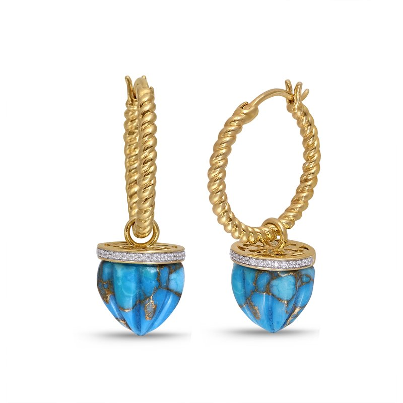 Luv My Jewelry LuvMyJewelry Summer Nights Turquoise & Diamond Hoop Earrings in Sterling Silver & 14 KT Yellow Gold Plating