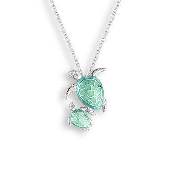 Green Turtle Necklace.Sterling Silver-White Sapphire