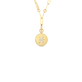 18K DIAMOND PISCES ZODIAC MEDALLION PENDANT W. COIN EDGE ON PAPER CLIP CHAIN