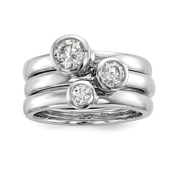 Sterling Silver Rhodium-plated Set of Three Stackable CZ Rings