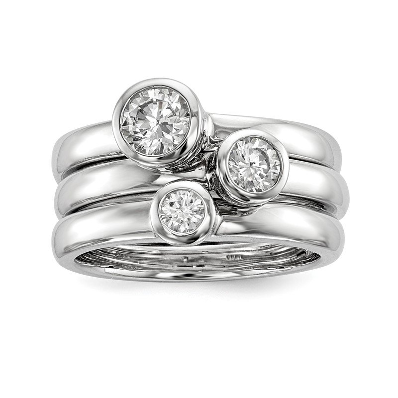 Quality Gold Sterling Silver Rhodium-plated Set of Three Stackable CZ Rings