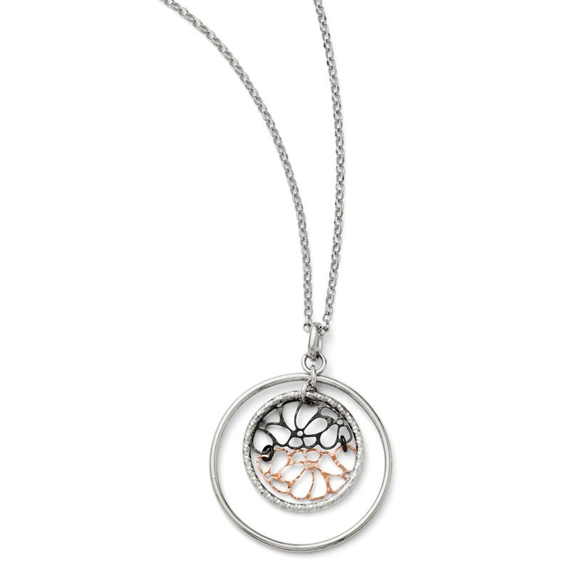Leslie's Leslie's SS Ruthenium & Rose-tone Flash-plated w/2in ext. Necklace