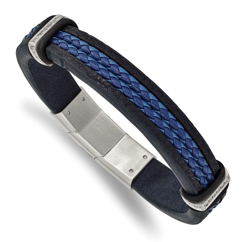 Chisel Stainless Steel Polished Blue Leather w/CZ 8in w/.5in ext. Bracelet