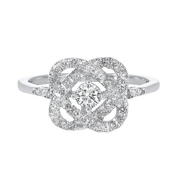 Diamond Infinity Love Heart Knot Promise Ring in 14k White Gold (1/2ctw)