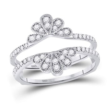 14kt White Gold Womens Round Diamond Milgrain Flower Petal Ring Guard Wrap Wedding Band 3/8 Cttw