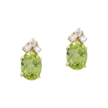 14k Yellow Gold Peridot And Diamond Oval Earrings