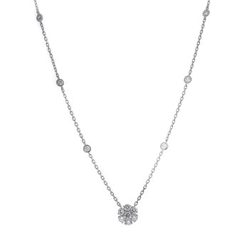 DIAMOND CLUSTER PENDANT .78 CT TW