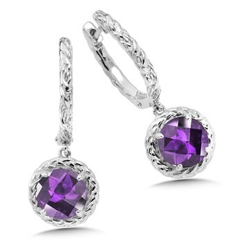 Sterling Silver Amethyst Dangle Hoop Earrings