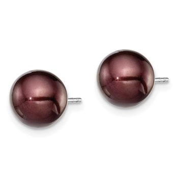 Sterling Silver Rh-plated 8-9mm Coffee FW Cultured Round Pearl Stud Earring