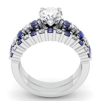 Round Diamond & Blue Sapphire Engagement Ring with Matching Wedding Band