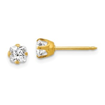 Inverness 14k 5mm Sq. Princess CZ Post Earrings