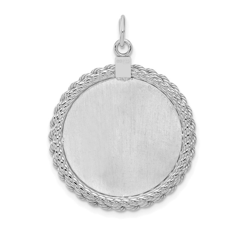 SS Rh-plt Engraveable Round with Rope Polished FrontSatin Back Disc New