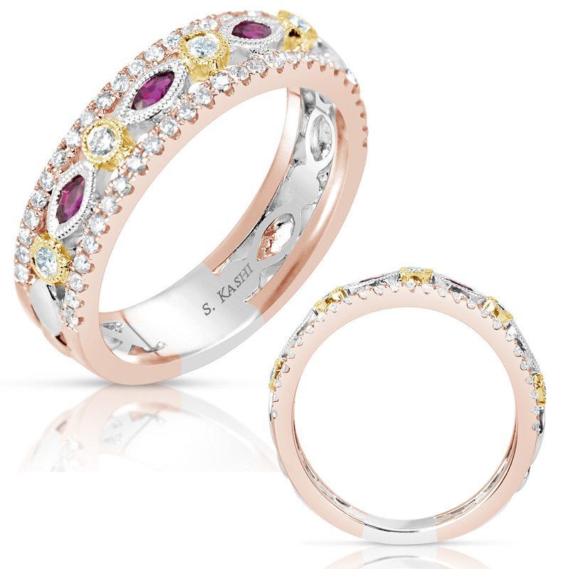 S. Kashi  & Sons Ruby & Tri Color Wedding Band