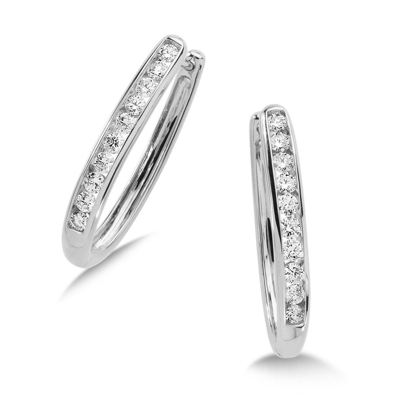 SDC Creations Channel set Diamond Oval Hoops in 14k White Gold (1/2 ct. tw.) GH/SI1-SI2