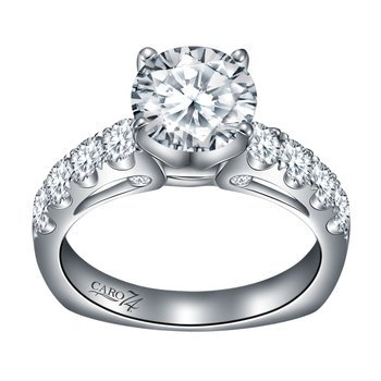 Diamond Engagement Ring With Side Stones in 14K White Gold and Platinum Head (1-1/2ct. tw.)